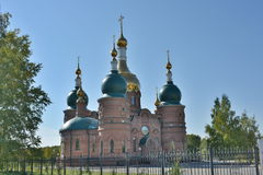 Christian church with green and gold open-air domes Stock Images