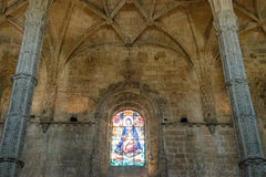 Christian church interior with stained glass windows Stock Images