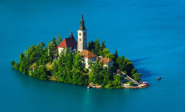 Christian church on island, Bled Stock Image
