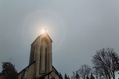 The  Christian Church. In the mist at sunrise Royalty Free Stock Images