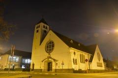 Christian church at night. GHENT, BELGIUM, January 2017: little christian church called malem church  at night Stock Photos