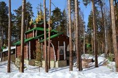 Christian Church ortodosso russo di legno della st Sergio di Radonež nel monastero di Ganina Yama fotografia stock libera da diritti