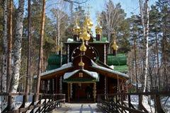 Christian Church ortodosso russo di legno di San Nicola nel monastero di Ganina Yama immagine stock libera da diritti