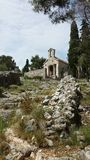 Christian church ruins near Spanjola Fortress, Hvar Croatia Royalty Free Stock Image