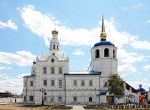 The Christian Church in Russia. The Christian Church in the Russian province. Odigitrievsky Cathedral in Ulan-Удэ.Рядом on the territory of the Church Stock Image