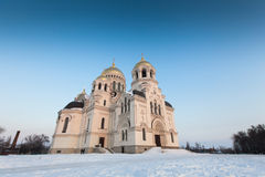 Christian church on a snowy area. Big Christian church on a snowy area Royalty Free Stock Image