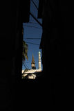 Christian churche and mosque. Christian church is next door to the mosque ,Christian churche and mosque are so close in The Stone Town of Zanzibar stock image