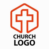 Christian churches logo line art in the form of a cross intended for christian religious organizations. Vector illustration on white background isolated Royalty Free Stock Image