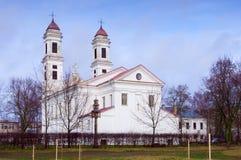 Christian classical white church and blue sky Stock Photos