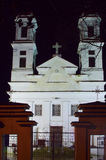 Christian classical white church at night Royalty Free Stock Photography