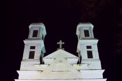 Christian classical white church towers at night Royalty Free Stock Image