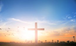 Christmas concept: Crucifixion Of Jesus Christ Cross At Sunset. Christian concept background:Eucharist Therapy Bless God Helping Repent Catholic Easter Lent Mind royalty free stock photo