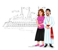 Christian couple. Infront of church in vector Stock Photo