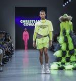 Christian Cowan FW 2019. New York, NY, USA - February 12, 2019: Kalen Allen walks runway for Christian Cowan Fall/Winter 2019 collection during New York Fashion royalty free stock photo