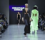 Christian Cowan FW 2019. New York, NY, USA - February 12, 2019: A model walks runway for Christian Cowan Fall/Winter 2019 collection during New York Fashion at stock photos