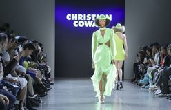 Christian Cowan FW 2019. New York, NY, USA - February 12, 2019: A model walks runway for Christian Cowan Fall/Winter 2019 collection during New York Fashion at stock images