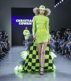 Christian Cowan FW 2019. New York, NY, USA - February 12, 2019: A model walks runway for Christian Cowan Fall/Winter 2019 collection during New York Fashion Week stock photos