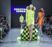 Christian Cowan FW 2019. New York, NY, USA - February 12, 2019: A model walks runway for Christian Cowan Fall/Winter 2019 collection during New York Fashion Week stock images