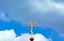 Christian cross. On a background sky royalty free stock image