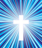Christian cross. White christian cross on blue background Stock Image