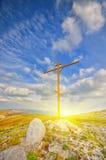 Christian cross. On a mountaintop. mountain landscape stock photos