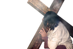 Christian and the cross. A man carrying a cross Stock Photo