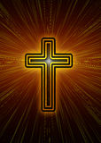 Christian cross. With rays of light and a flare Royalty Free Stock Images
