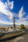 Christian cross above Marseille city, France Royalty Free Stock Image