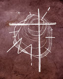 Christian Cross and abstract background. Hand drawn illustration or drawing of a Christian Cross and an abstract background Stock Photography