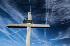 Christian Cross Against the Sky Royalty Free Stock Photography