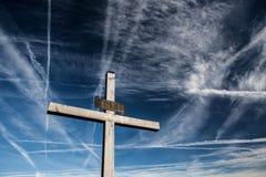 Christian Cross Against the Sky. Christian Cross Against the Blue Sky Stock Photos