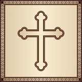Christian Cross auf elegantem Hintergrund mit mit Filigran geschmücktem Rahmen Lizenzfreies Stockbild