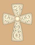 Christian Cross avec des décorations illustration de vecteur