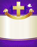 Christian Cross Background. A gold cross and dove with banner adorns this royal purple background Stock Images