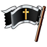 Christian cross on black flag Stock Photo