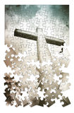 Christian cross on blue background in shape of puzzle Royalty Free Stock Photography