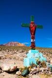 Christian cross on blue sky. Peru Stock Image