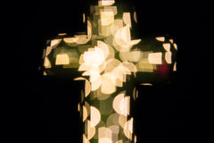 Christian cross bokeh Royalty Free Stock Images
