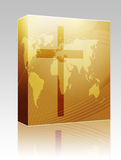 Christian cross box package. Software package box Christian church cross, religious spiritual symbol illustration Royalty Free Stock Image