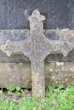 Christian Cross Carved na pedra imagens de stock