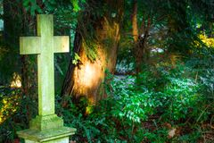 Christian cross in cemetery Stock Photo