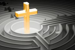 Christian cross at the center of a maze, way to religion concept. 3D Royalty Free Stock Photography