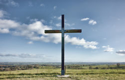Christian cross of christ in field Royalty Free Stock Image