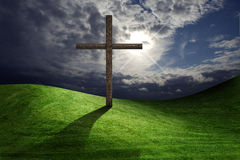 Christian cross. Of christ in field Stock Images