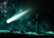 Christian Cross and Comet Stock Photography