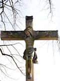 This Christian cross, with crucified Jesus, a symbol of piety, was erected in 1889 by Countess Ansembourg. God for the honor and protection of her house stock photos