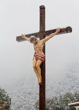 Christian cross with a crucifix in the church Royalty Free Stock Photos