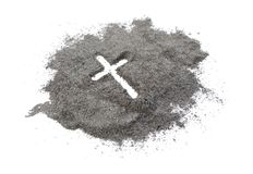Christian cross or crucifix drawing in ash, dust or sand as symbol of religion, sacrifice, redemtion, Jesus Christ, ash wednesday. Ash Wednesday concept stock images