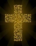 Christian Cross de un ornamento floral con brillo del oro Imagen de archivo libre de regalías