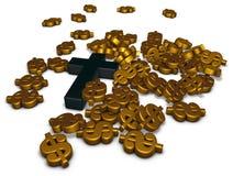 Christian cross and dollar symbols Stock Photography